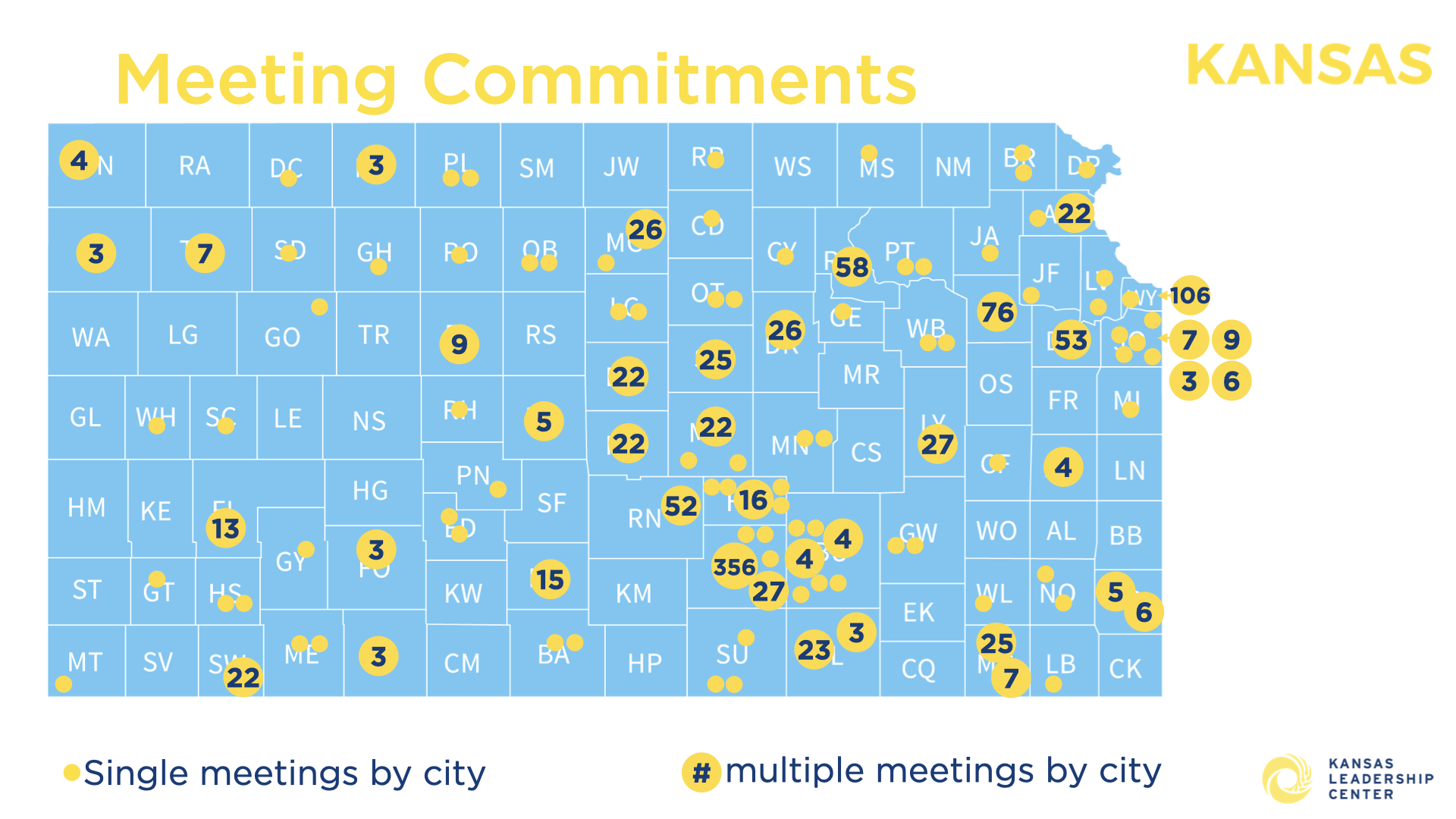 Map of Kansas Counties that plan to hold community action plan meetings